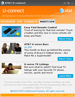 AT&T U-connect widget screenshot